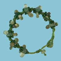 Circa 1960s Green Macrame and Green-toned Beads Bracelet