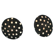 Circa 1950s - 60s Black and White Polka Dot Covered Button Pierced Earrings