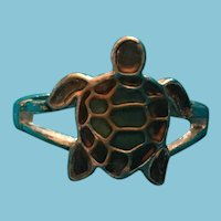 Sculpted Green and Purple Turtle Band Ring