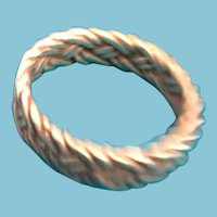 Silver-toned Embossed Twisted Braid Band Ring