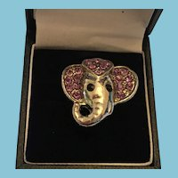1960s Sculpted Silver-Tone Elephant Ring with Crystal Embellishment