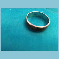 1970s Silver-toned Ring with a Black/Brown Band