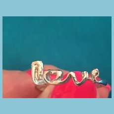 Silver-Toned Metal Ring with a 'Love'-shaped Crown