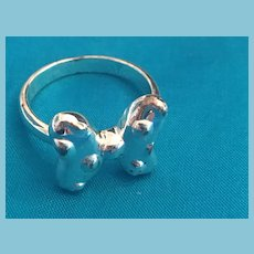 Silver-toned Butterfly Metal Band Ring