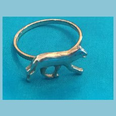 Silver-toned Metal Dog Band Ring