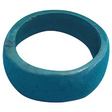 Simple One-piece Bump-domed Painted Turquoise Wooden Ring