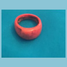 Simple One-piece Bump-domed Painted Pumpkin Colored Wooden Ring