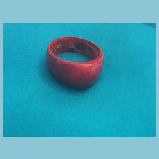 Simple One-Piece Bump-Domed Painted Red Wooden Ring