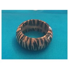 Jungle Pattern Tiger-stripe Lucite Puff-band Ring