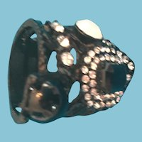 Ornate Rhinestone, Crystal, and Metal Black and White Ring
