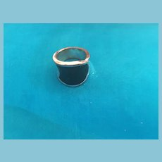 Stunning Black and Silver-toned Heavy Metal Cylinder-Shaped Ring