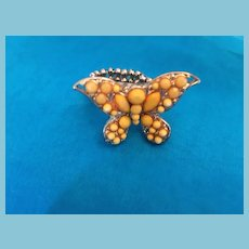 1960s Fashion Sculpted Yellow Crystal Butterfly Cocktail Ring