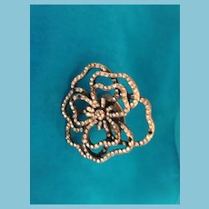 1960s Sculpted Flower Fashion Rhinestone Ring