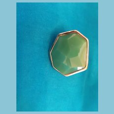 Multi-faceted Green Glass Raised Dome Angular Fashion Ring