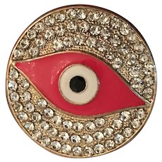 Evil Eye Charm Expandable Brass Ring w/ Cubic Zirconia Crystals