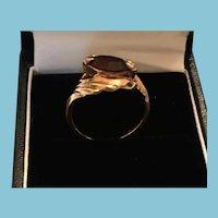 1950s Gold-tone Sculpted Metal Cabochon Set Amethyst Ring