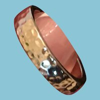 1960s Hammered Gold-Toned Metal Sweetheart Friendship Ring Band