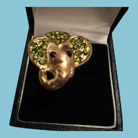 1960s Sculpted Gold-Tone Elephant Ring with Crystal Embellishment