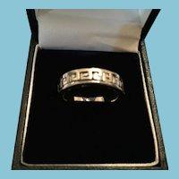 1960s Inscribed Greek Key Silver-Toned Metal Eternity Ring