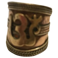 Copper and Brass Wide-Band Ring with OM Symbol