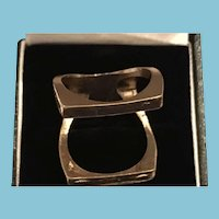 Geometric Double-band, One-Piece Gold-toned Metal Ring