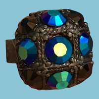 Ornate Turquoise Crystal and Charcoal-Colored Expandable Cocktail Ring