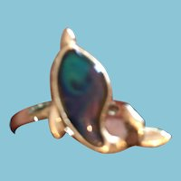Seashell Blue/Green/Purple Porpoise Silver-toned Metal Ring