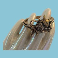 Vintage brass-tone Sculpted 'Toro' Charging Bull Ring
