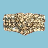 Vintage Pave Rhinestone Ring with an Embedded Pave Heart