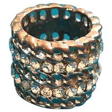 Three Quarter Inch Wide Rhinestone Studded Chain Ring