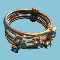 Five Strand Metal Ring Embellished with Robin's Egg Blue Crystals