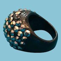 1960s Pave Silver Rhinestone Black Lucite BOHO Ring