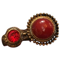Red Glass Dome Metal Double Toe Ring