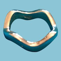 Solid Silver-Toned Wavy Solid Band Ring