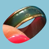 1970s Friendship Ring with an Interior Blue/Green Band