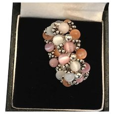 Artisan-made Topaz, Pink, and White Cats Eye Bead Woven Cocktail Ring