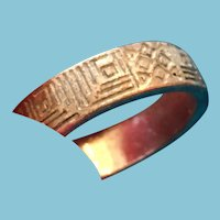 Inscribed Tribal Silver-toned Man's Ring