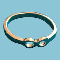 Silver-toned Band Ring with a Double Loop-Shaped Crown