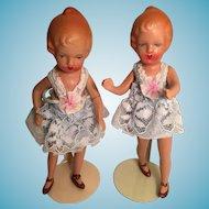Vintage Japanese Bisque Little Twin Girl Dolls 小さな人形