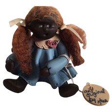 One-of-a-Kind Artist-made Cernit Miniature Black Doll