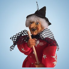 Vintage Hallowe'en Kitchen Witch Doll with Twig Broom
