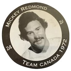 1972 Summit Series Canada-Russia Mickey Redmond M-I-B Hockey Puck