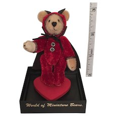 "2 3/4"" 'Trickster' Small Bears for a Big World Handmade Miniature Teddy Bear by Stacy Pio"