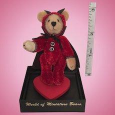 "2 3/4"" 'Trickster' Small Bears for a Big World Handmade Miniature Teddy Bear by Stacy Pio"