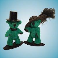 Two 'Beary Fancy' Miniature Plush Green Bears