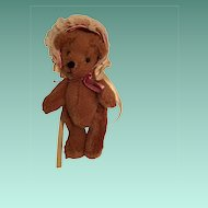 Miniature Cinnamon Plush  Bear with a Sweet Pink Bonnet