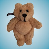 Miniature Tubby Beige Plush Teddy Signed by Artist
