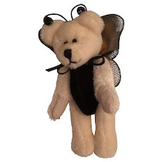 Miniature Butterfly Bear Wearing a Black Velvet Suit with Yellow Wings