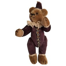 Miniature 'Jolly Jester' Clipped Mohair Taupe Bear