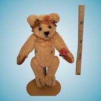 Miniature Artist Signed White Mohair Girlie Girl Bear